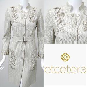 Etcetera Ecru Laser Cut Long Leather Coat Jacket